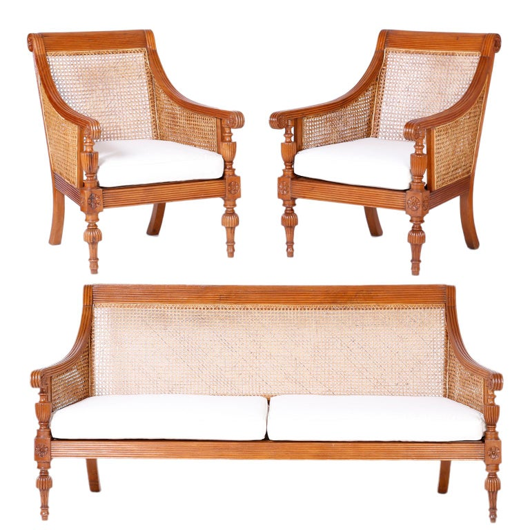 19th Century British Colonial Teakwood Suite Sofa For Sale