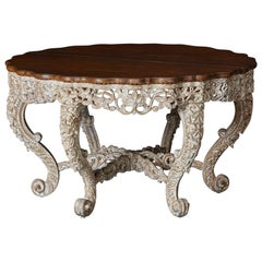 British Colonial Victorian Carved and Painted Centre Table, circa 1870s