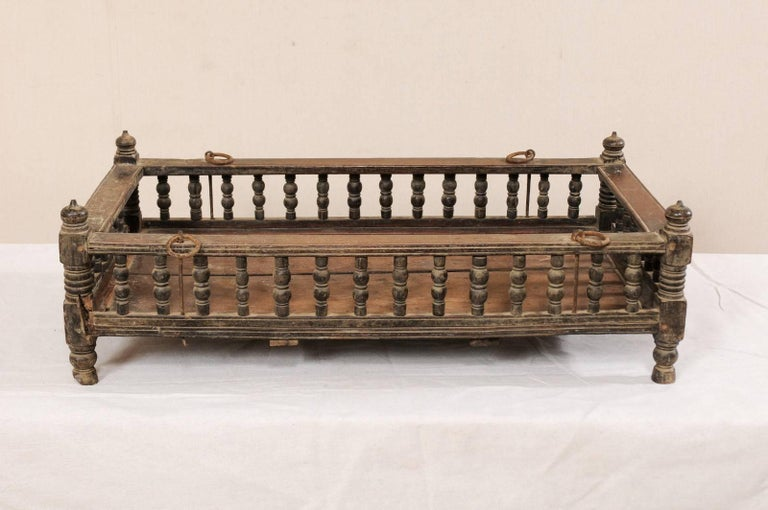 Indian British Colonial Wooden Pet Bed / Bassinet from the Mid-20th Century For Sale