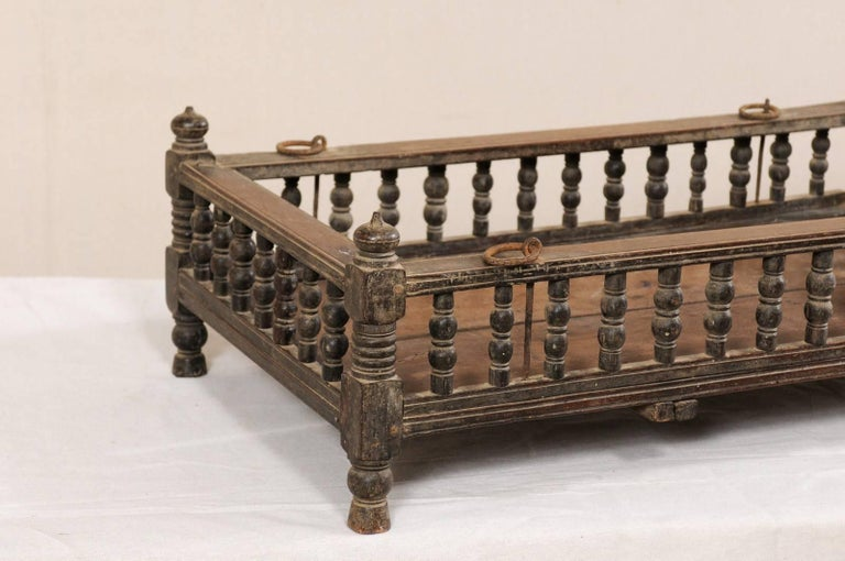 Carved British Colonial Wooden Pet Bed / Bassinet from the Mid-20th Century For Sale
