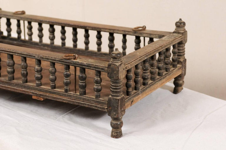 British Colonial Wooden Pet Bed / Bassinet from the Mid-20th Century In Good Condition For Sale In Atlanta, GA