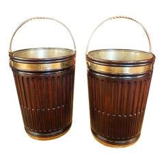British Country Home Georgian Style Pair of Mahogany Irish Peat Buckets