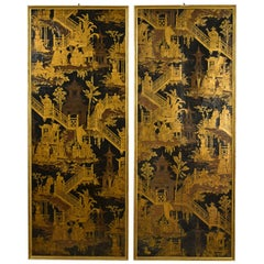 British Couple 19th Century Chinoiserie Panels on Paper