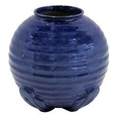 British Deco 1940s Bulblous Ribbed Ceramic Vase, England