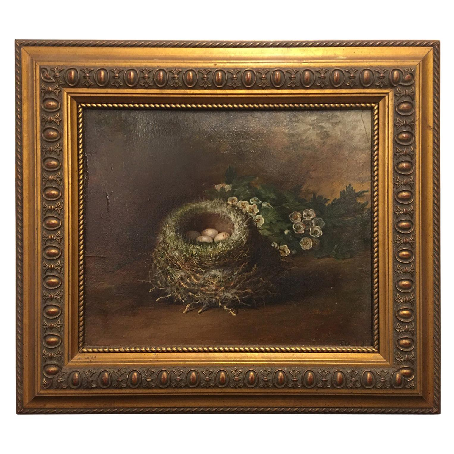 """British Framed Oil on Canvas Painting """"The Bird's Nest"""", Tom Hold, 19th Century"""