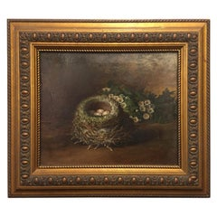 "British Framed Oil on Canvas Painting ""The Bird's Nest"", Tom Hold, 19th Century"