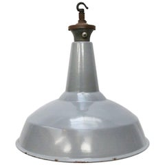 British Gray Enamel Vintage Industrial Pendant Lamp