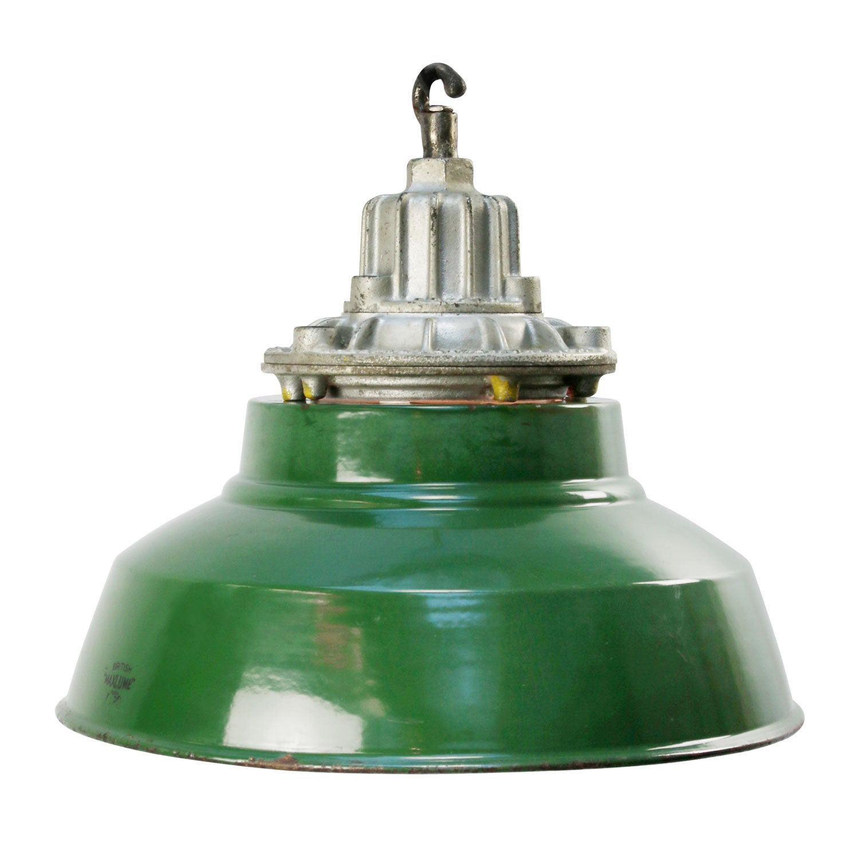 British Green Enamel Vintage Industrial Cast Iron Clear Glass Pendant Lamp