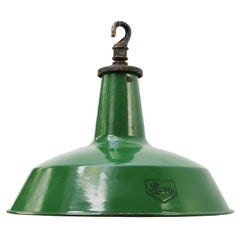British Green Enamel Vintage Industrial Factory Pendant Light