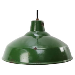 British Green Enamel Vintage Industrial Pendant Light