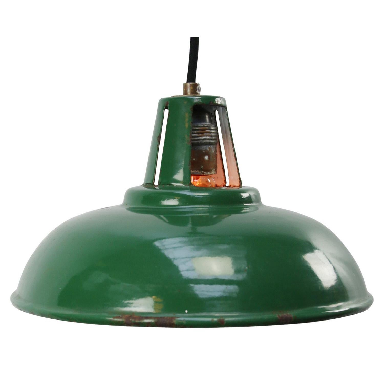 British Green Enamel Vintage Industrial Pendant Lights