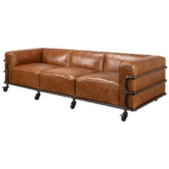 British Industrial Leather Sofa