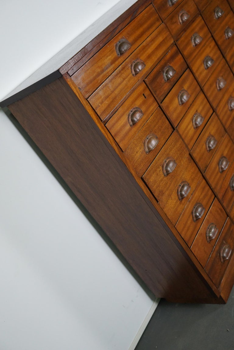 British Mahogany Apothecary Cabinet or Bank of Drawers, 1930s For Sale 8