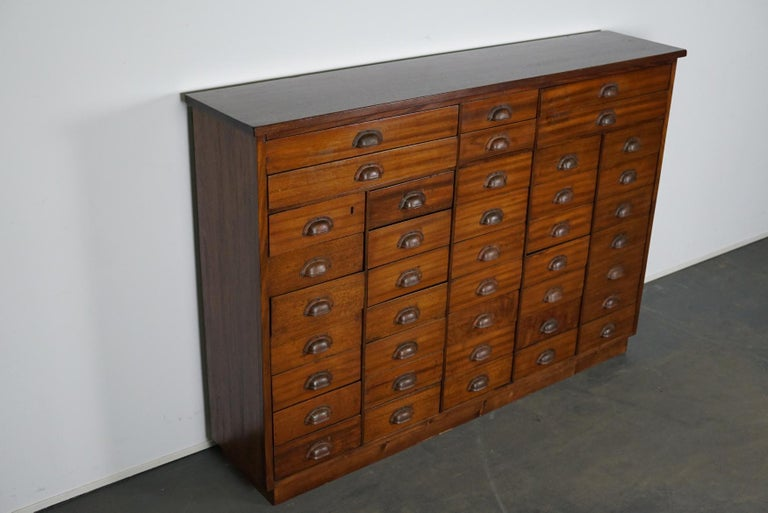 British Mahogany Apothecary Cabinet or Bank of Drawers, 1930s For Sale 9