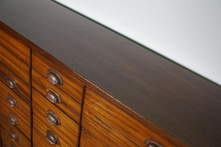 British Mahogany Apothecary Cabinet or Bank of Drawers, 1930s For Sale 11