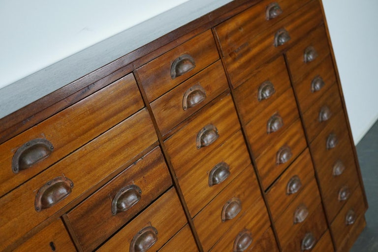 Industrial British Mahogany Apothecary Cabinet or Bank of Drawers, 1930s For Sale
