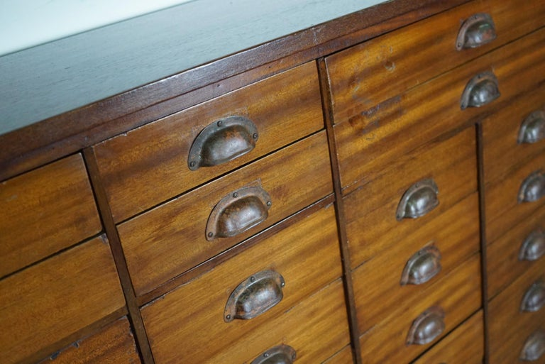 Mid-20th Century British Mahogany Apothecary Cabinet or Bank of Drawers, 1930s For Sale