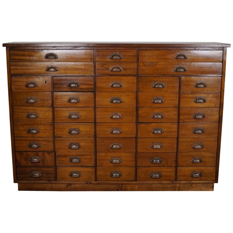 British Mahogany Apothecary Cabinet or Bank of Drawers, 1930s For Sale