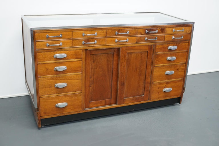 Art Deco British Mahogany Haberdashery Cabinet or Shop Counter, 1930s For Sale