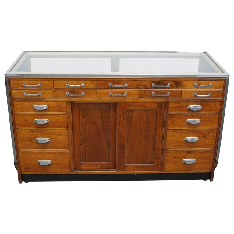 British Mahogany Haberdashery Cabinet or Shop Counter, 1930s For Sale