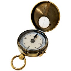 British Marching Compass of Brass with Leather Case