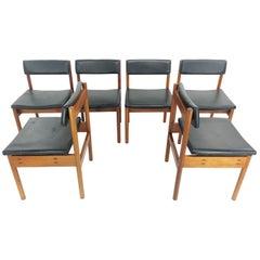 British Military Teak and Vinyl Midcentury Dining Chairs