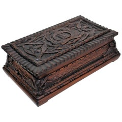 British Military WWI Suffolk Regiment Hand Carved Wooden Box
