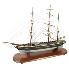 Antique Wood Nautical British Scale Model of Brig with Three Masts , Early 1900