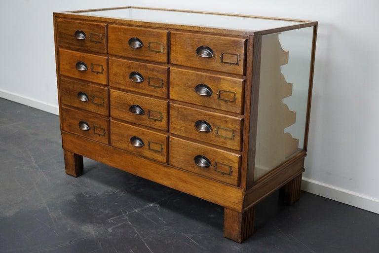 British Oak Haberdashery Cabinet or Shop Counter, 1930s 8