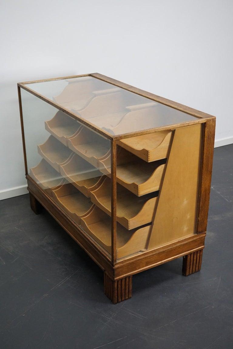 British Oak Haberdashery Cabinet or Shop Counter, 1930s In Good Condition In Nijmegen, NL