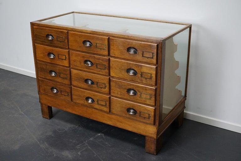 British Oak Haberdashery Cabinet or Shop Counter, 1930s 1
