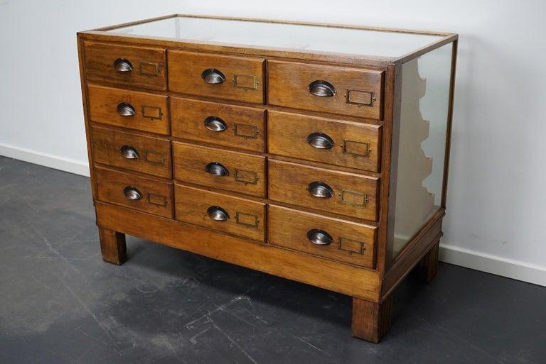 British Oak Haberdashery Cabinet or Shop Counter, 1930s 3