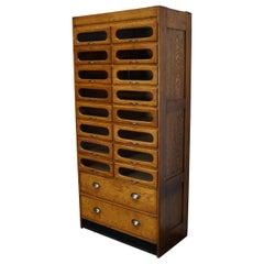 British Oak Haberdashery Shop Cabinet, 1930s