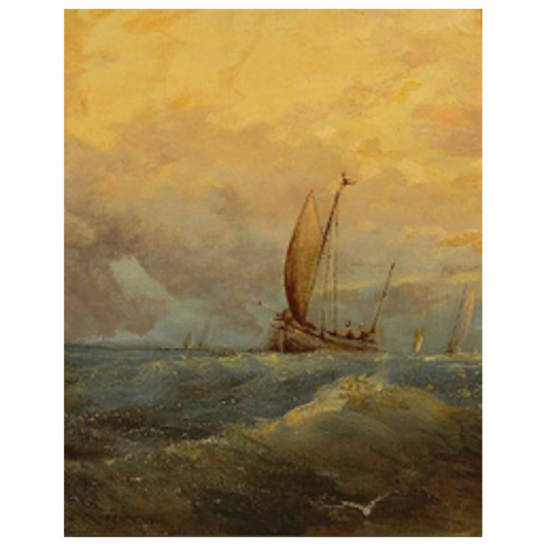 """British Oil on Canvas Laid Down on Board """"Sunset at Sea"""", E. Hayes, 19th Century"""