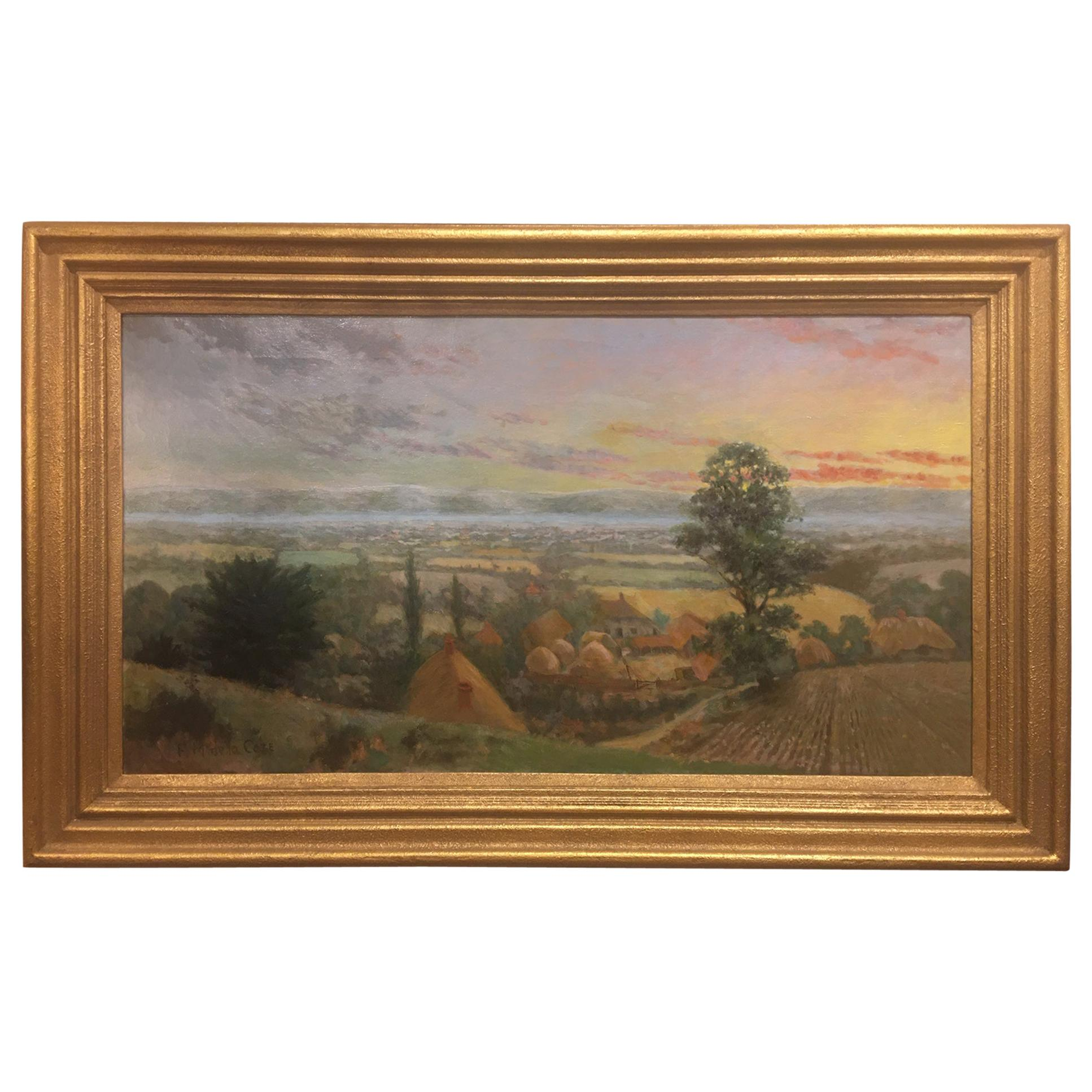 """British Oil on Canvas """"Valley of the Rothe"""" by F. M. de la Coze, 20th Century"""