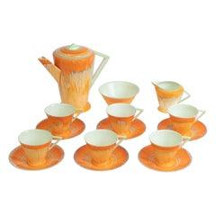 British Porcelain Shelley Art Deco Orange Harmony Coffee Set