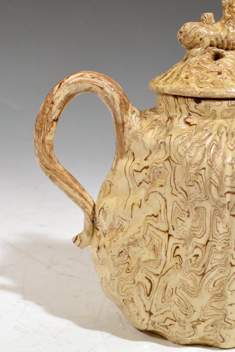 Creamware British Pottery Solid Agate Pecten Shell Teapot and Cover, circa 1755-1760 For Sale