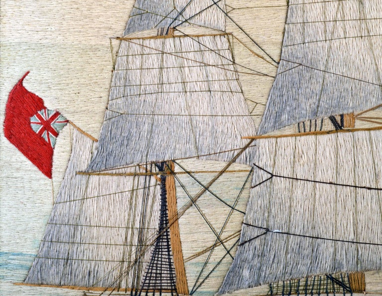 British Sailor's Large Woolwork of a Royal Navy Ship Under Full Sail, circa 1875 For Sale 4