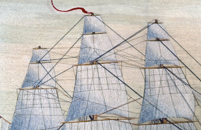 British Sailor's Large Woolwork of a Royal Navy Ship Under Full Sail, circa 1875 For Sale 5