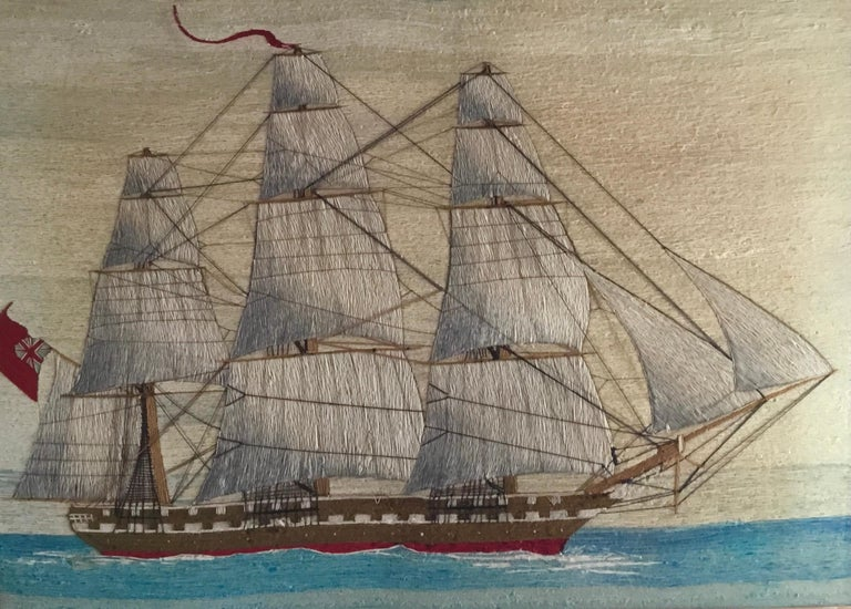 British Sailor's large woolwork of a royal navy ship under full sail, circa 1875 (Ref: 9503-irim)  The sailor's woolie or woolwork depicts a starboard side view of a three-masted square-rigged Royal Navy ship under full sail flying the Red