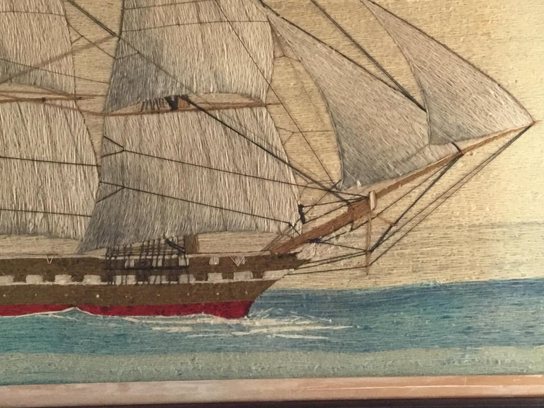 Folk Art British Sailor's Large Woolwork of a Royal Navy Ship Under Full Sail, circa 1875 For Sale