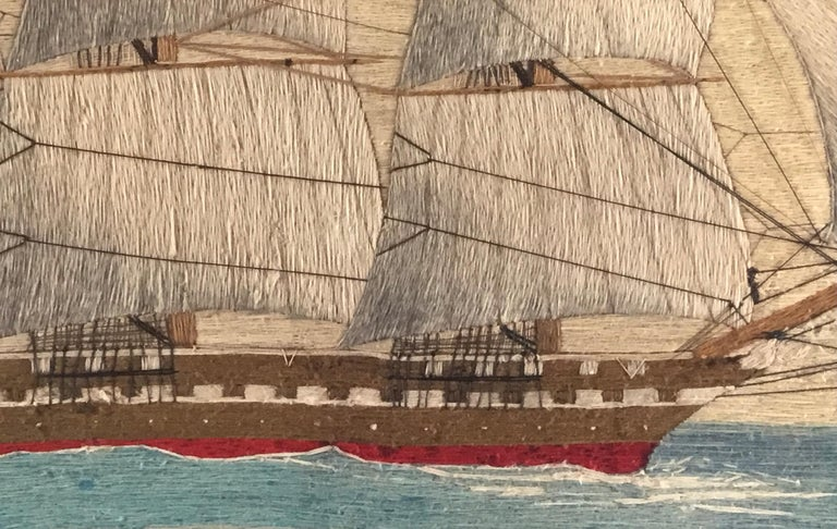 English British Sailor's Large Woolwork of a Royal Navy Ship Under Full Sail, circa 1875 For Sale