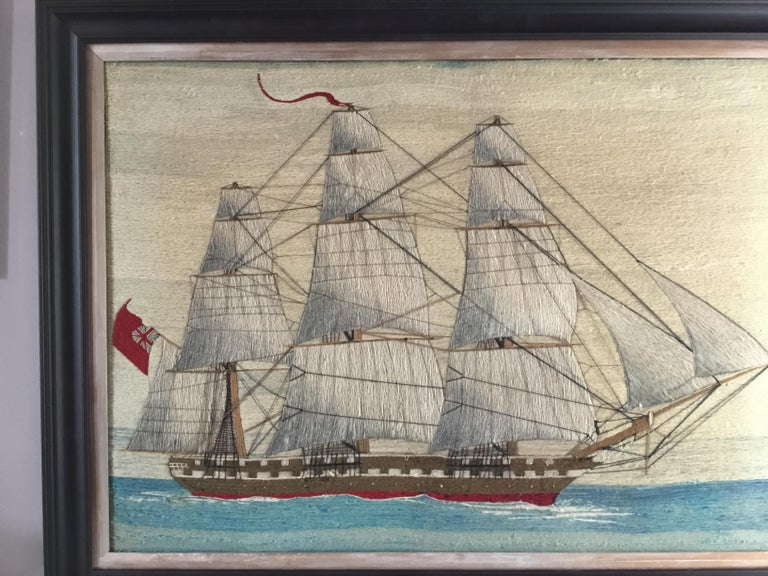 British Sailor's Large Woolwork of a Royal Navy Ship Under Full Sail, circa 1875 In Good Condition For Sale In Downingtown, PA