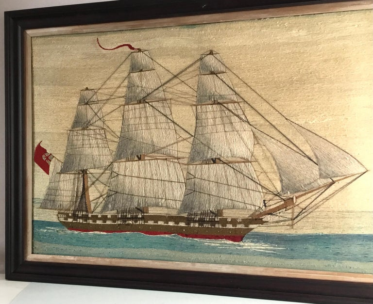 19th Century British Sailor's Large Woolwork of a Royal Navy Ship Under Full Sail, circa 1875 For Sale