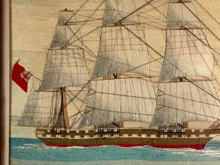 British Sailor's Large Woolwork of a Royal Navy Ship Under Full Sail, circa 1875 For Sale 1