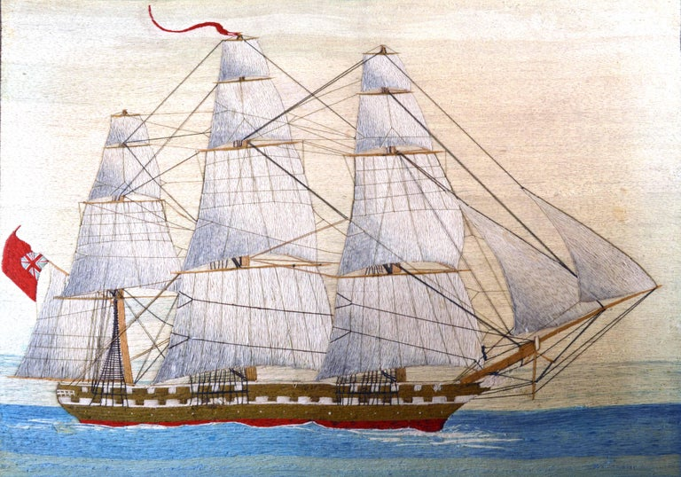 British Sailor's Large Woolwork of a Royal Navy Ship Under Full Sail, circa 1875 For Sale 2