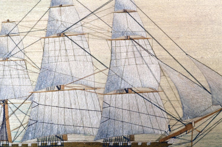 British Sailor's Large Woolwork of a Royal Navy Ship Under Full Sail, circa 1875 For Sale 3