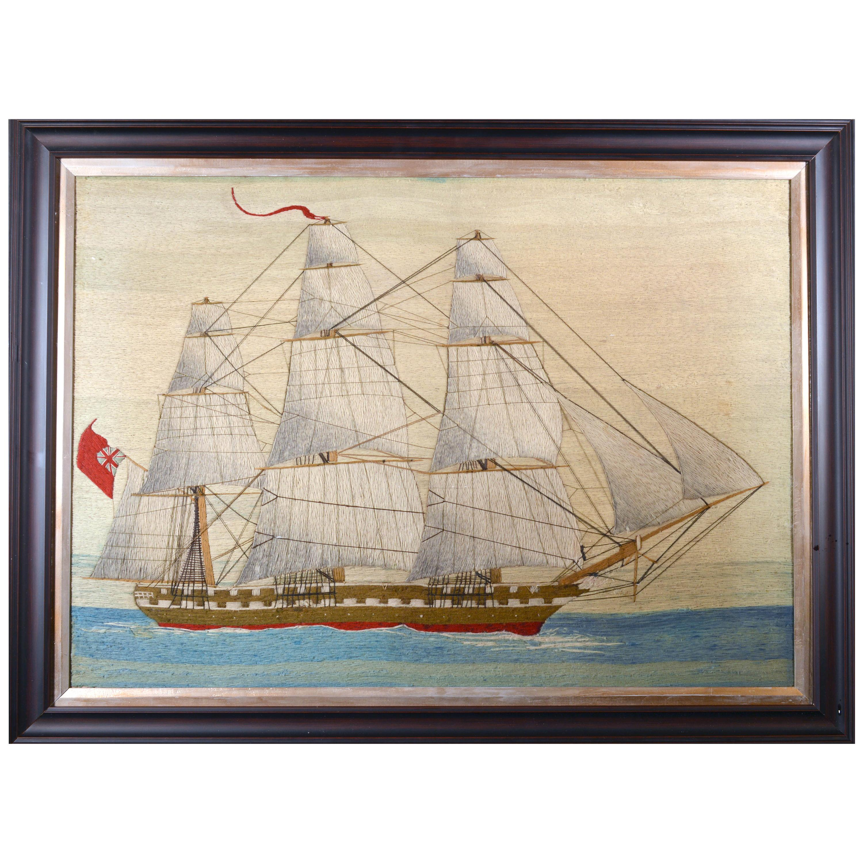 British Sailor's Large Woolwork of a Royal Navy Ship Under Full Sail, circa 1875