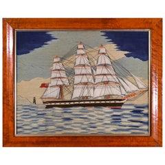 British Sailor's Woolwork of a Merchant Navy Three Masted Ship, circa 1875