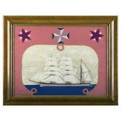 British Sailor's Woolwork of a Royal Navy Ship, circa 1870